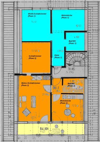 Ferienwohnung 1(türkis) +2 (orange) im Dachgeschoss
